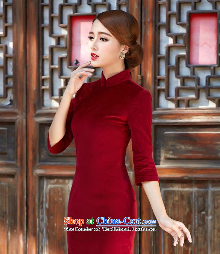 Optimize fruit shop 005 qipao bell 2015 autumn and winter new solid-color flocking cheongsam dress support wine red聽XXL picture, prices, brand platters! The elections are supplied in the national character of distribution, so action, buy now enjoy more preferential! As soon as possible.