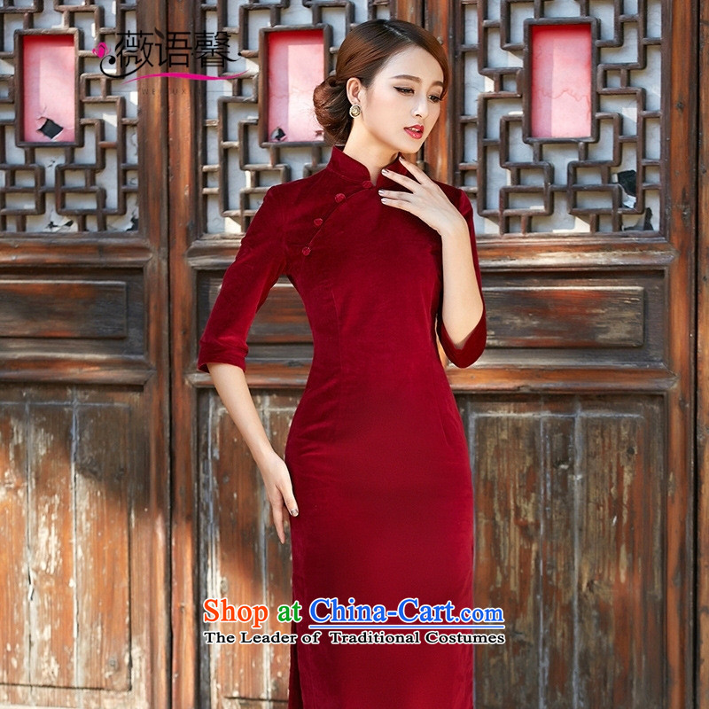 Optimize fruit shop 005 qipao bell 2015 autumn and winter new solid-color flocking cheongsam dress support wine red聽XXL