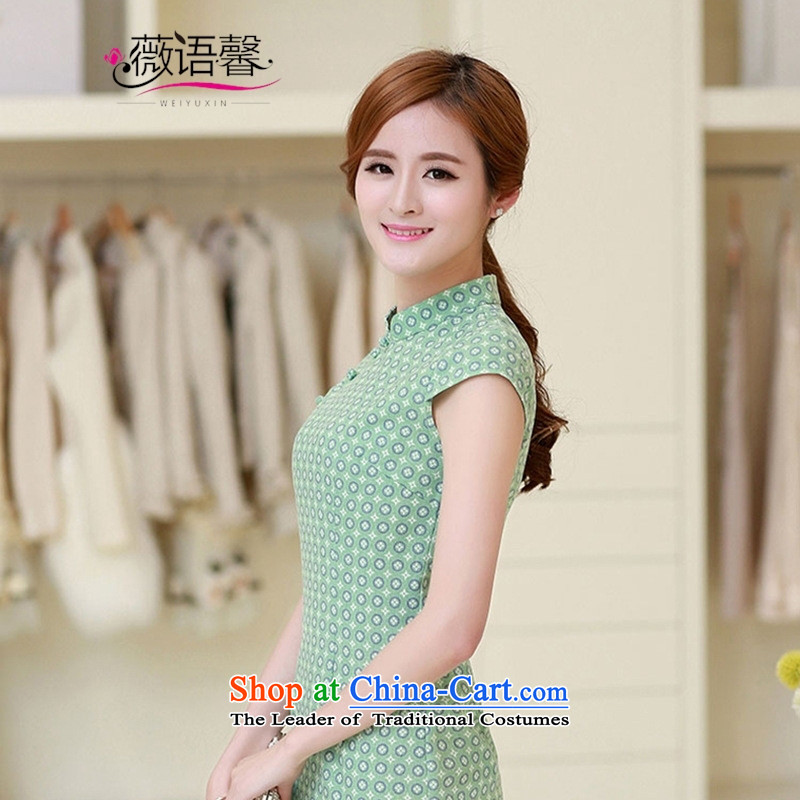 Optimize the bell shop short-sleeved qipao China wind retro linen arts circle of the forklift truck cheongsam dress, light green summer Sau San燤