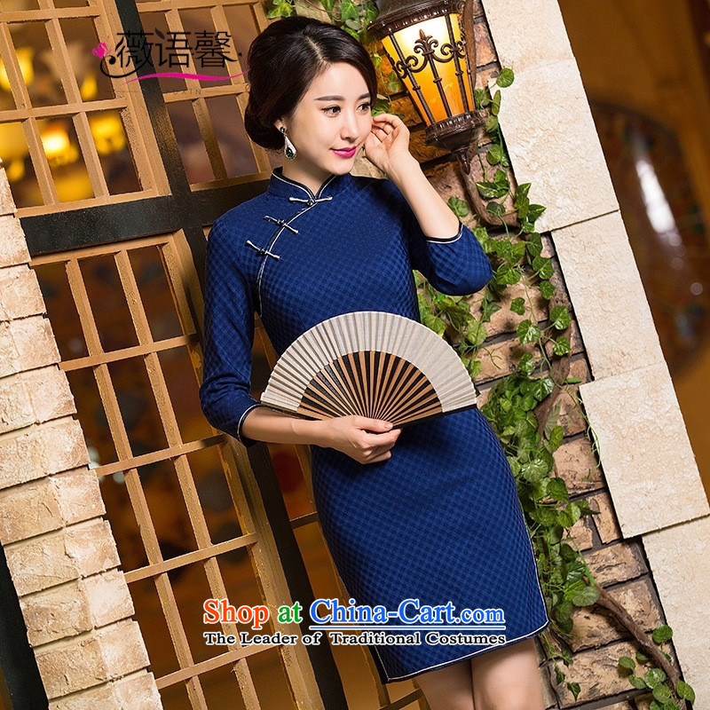 Optimize fruit shop B110 Ms. Bernard Kouchner daily wedding dresses in improved long-sleeved) High pop-blue skirt (QIPAO) M