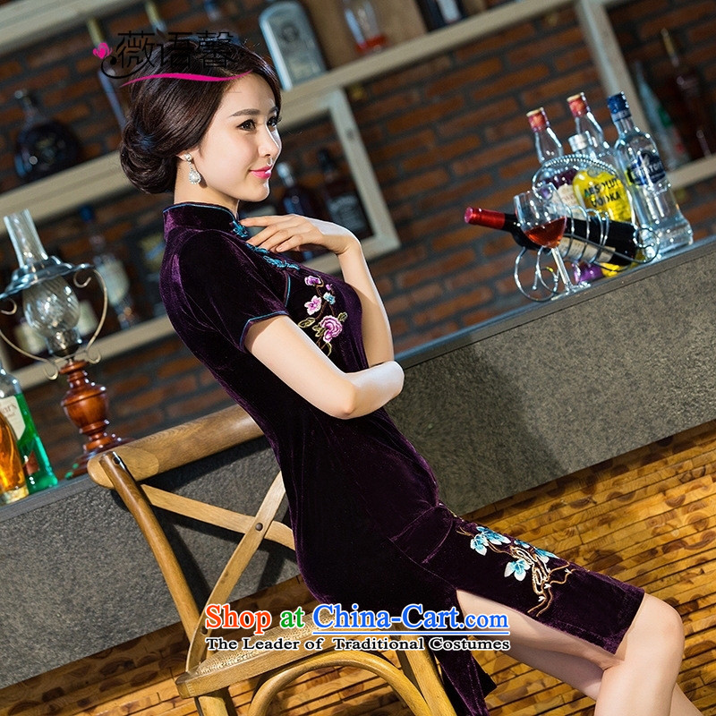 Optimize fruit shop 2015 embroidery velour bell qipao new Stylish retro luxury manually staple improved pearl velvet cheongsam dress purple燣