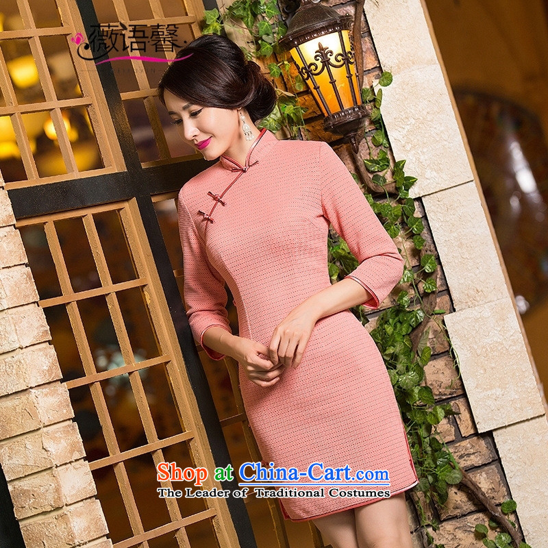 Optimize fruit shop A1011 bell new boxed qipao stylish improvements autumn retro Sau San, long-sleeved QIPAO_ dresses pink聽XL