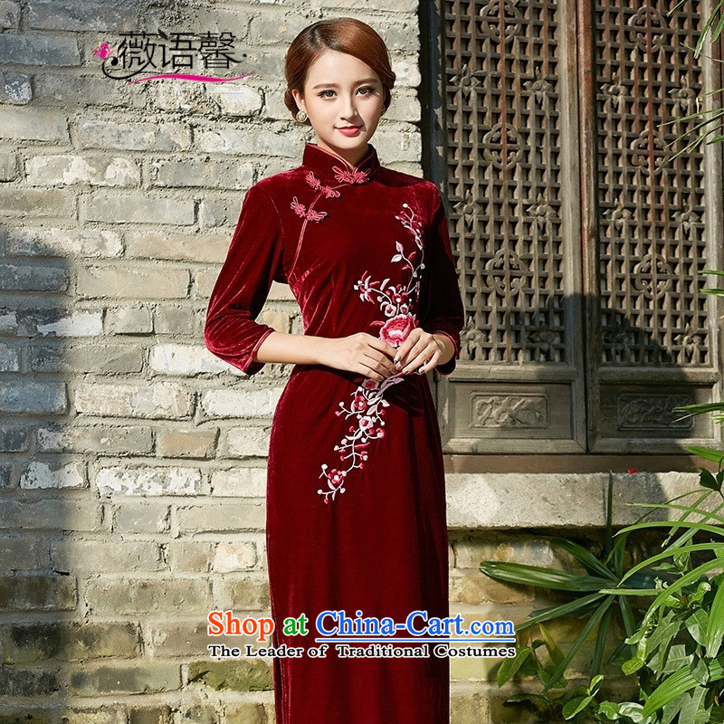 Optimize fruit shop long Kim Campbell qipao mother load scouring pads 2015 new large antique dresses wedding dress long wine red in the Cuff聽XL