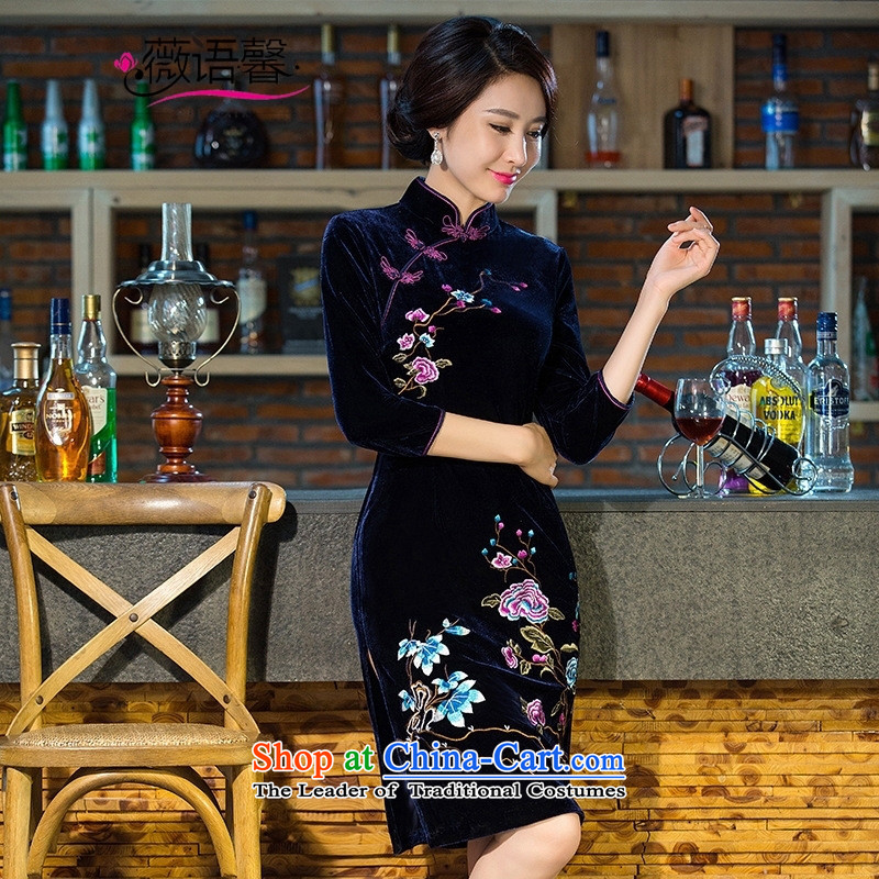 Optimize fruit shop 101 qipao mother bell replacing wedding Kim scouring pads retro dresses improved evening dresses daily large cheongsam embroidery wine red聽XL