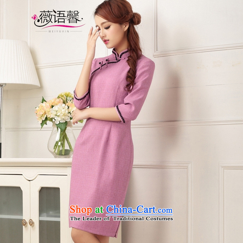 Optimize fruit shop 2015 New Bell cheongsam look in the Cuff cotton linen gentlewoman retro style qipao Sau San dresses in long green�S