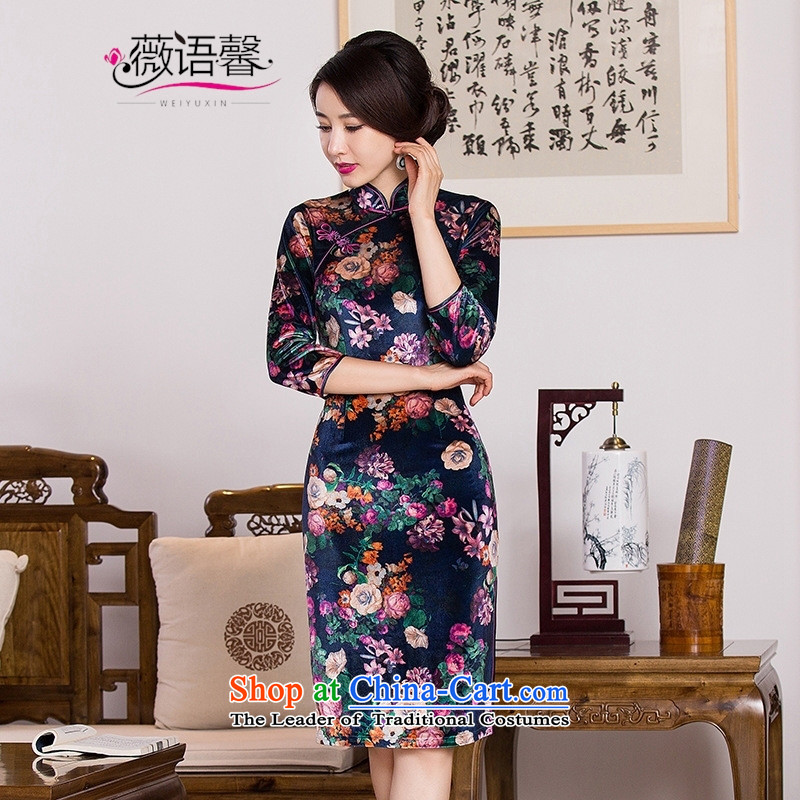 Optimize fruit shop 1060 New Bell gold velour robes of nostalgia for the improvement of the day-to-day in Ms. Banquet in long-sleeved cheongsam dress燲XXL 01060