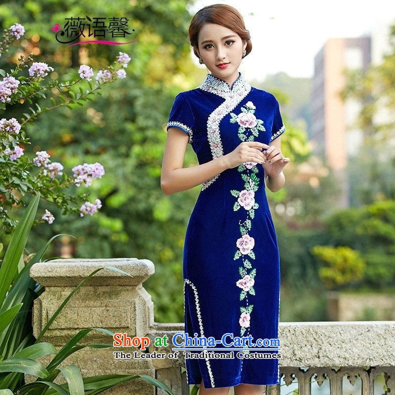 Optimize fruit shop 221 Wool qipao bell scouring pads manually staple PEARL GOLD banquet Dress Short of female short-sleeved purple聽XL