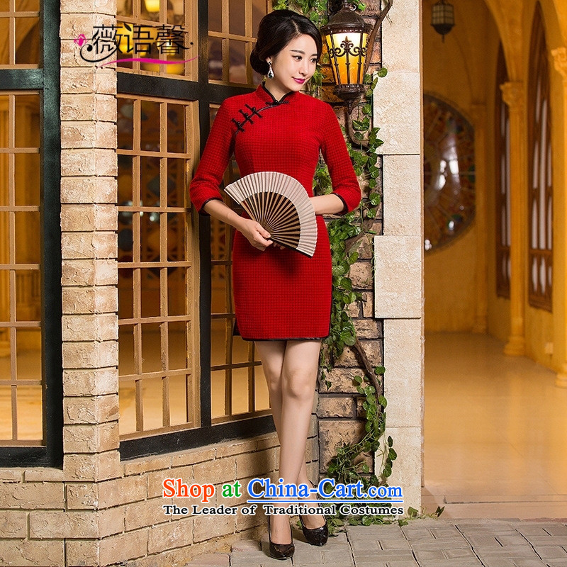 Optimize the bell shop cheongsam 2015 new fall short of replacing cuff thick wool double wedding dresses? red?L
