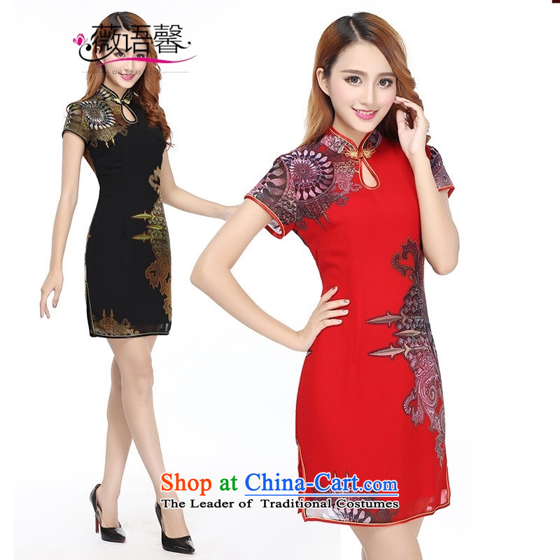 Optimize fruit shop New Bell qipao antique dresses xl elegance video thin short black dress qipao?XL