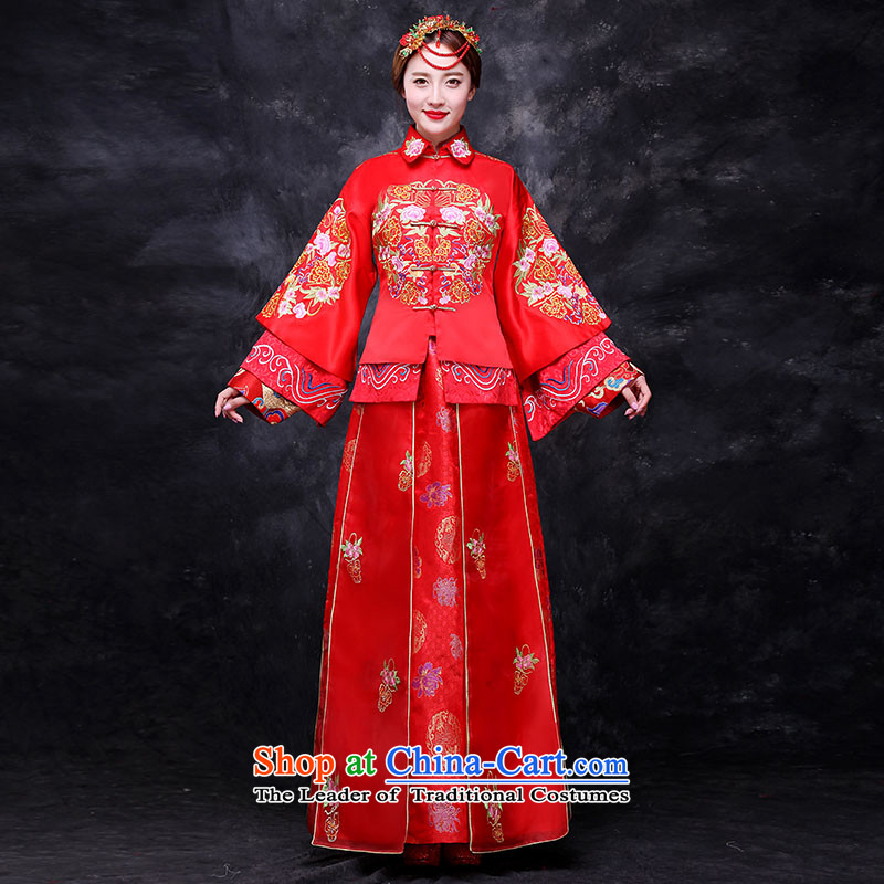 Sau Wo Service bridal dresses Chinese wedding dress 2015 autumn and winter new bows wedding dress qipao Soo kimono red retro?L