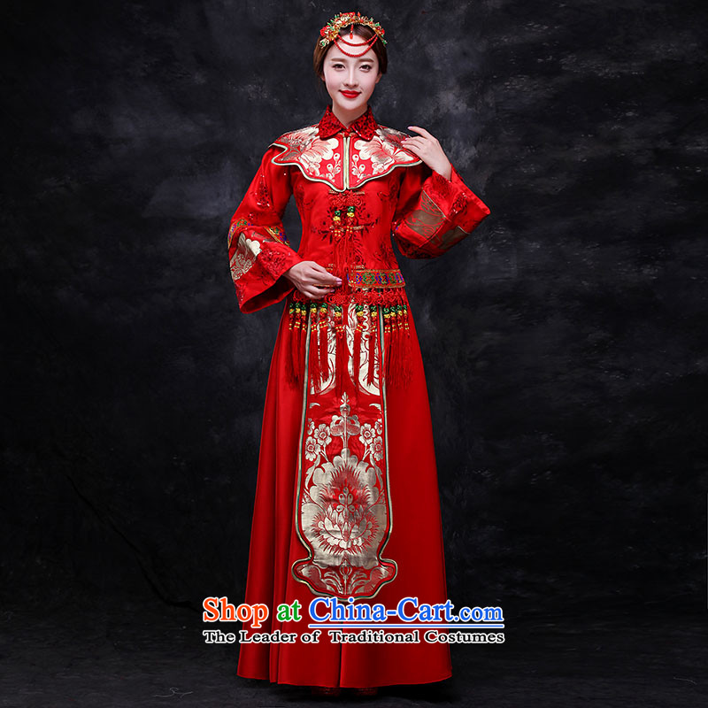 Sau Wo Service service bridal dresses Sau Wo Chinese wedding dress 2015 new red bows wedding dress retro-soo Kimono clothes set of Qipao RED聽M