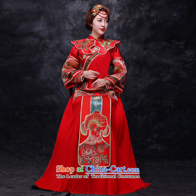 Sau Wo Service bridal dresses red Chinese Antique bows to the autumn and winter wedding dress qipao Soo kimono longfeng marriage use red?L