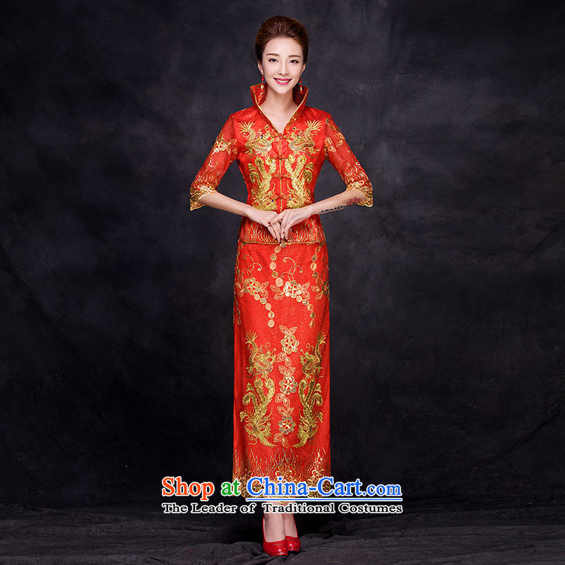 The bride wedding dress bows to the autumn and winter 2015 new cheongsam dress 7 cuff retro lace Sau San evening dress red?L