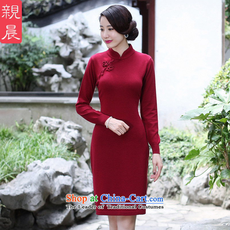 2015 Fall/Winter Collections cheongsam dress new long-sleeved shirt improvements woolen knitted retro-to-day, Sau San dresses wine red?2XL