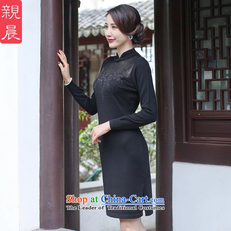 The cheongsam dress 2015 Fall/Winter Collections new improved retro wool Knitted Shirt stylish Sau San long-sleeved black skirt Ms.?M