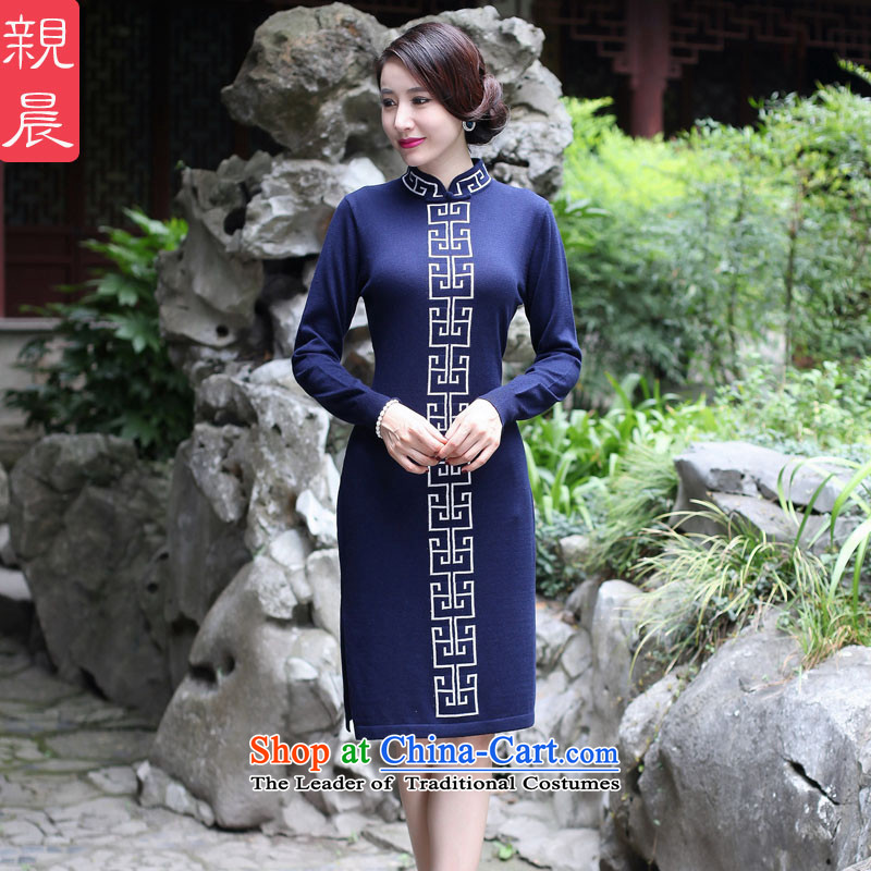 2015 Fall/Winter Collections cheongsam dress new improved stylish woolen knitted long-sleeved daily retro dresses girls   Tibetan 2XL Cyan