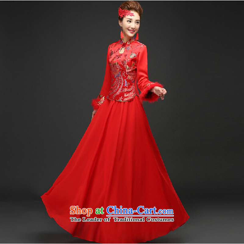 Wedding dress 2015 new bows services marriages CHINESE CHEONGSAM red long long-sleeved Soo Wo Service autumn and winter red winter_?L