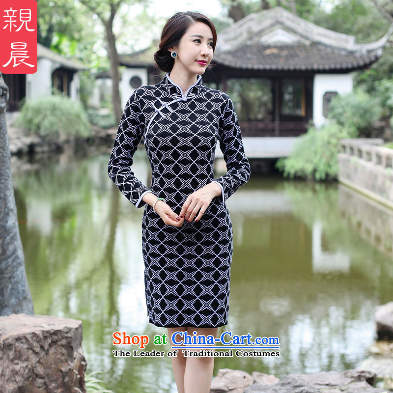 2015 Fall/Winter Collections new cheongsam dress Stylish retro woolen knitted long-sleeved short of Sau San dresses improved female Black + Gray?XL