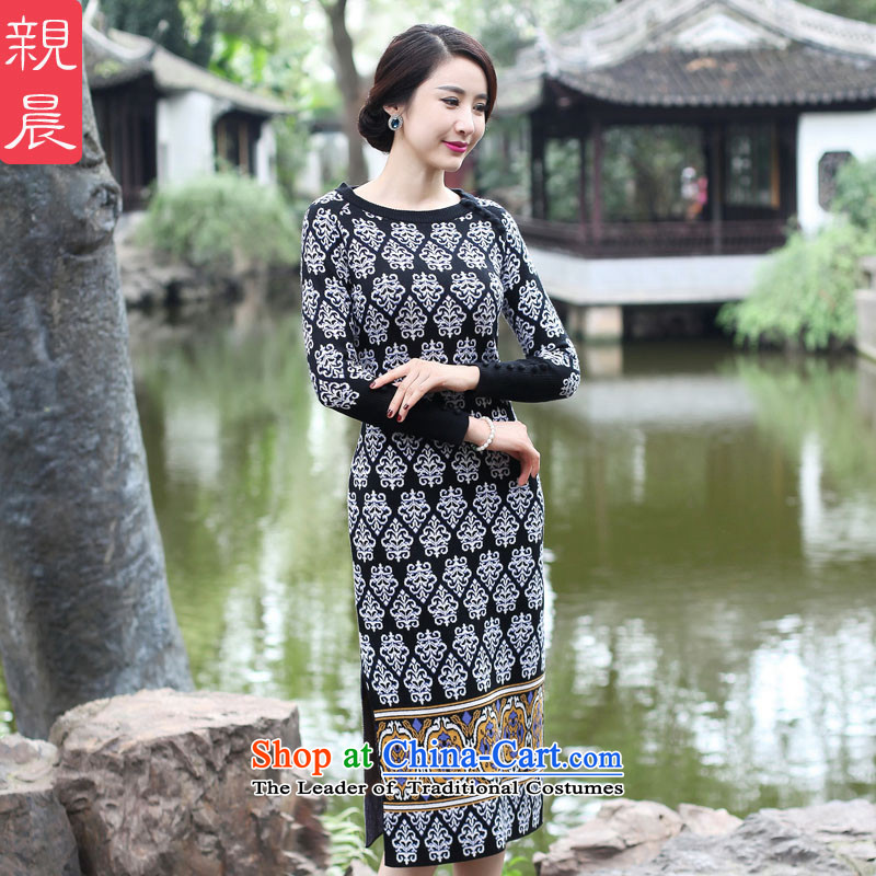 2015 Fall_Winter Collections cheongsam dress the new improved Ms. retro Woolen Sweater Knit long-sleeved Sau San long skirt black�L