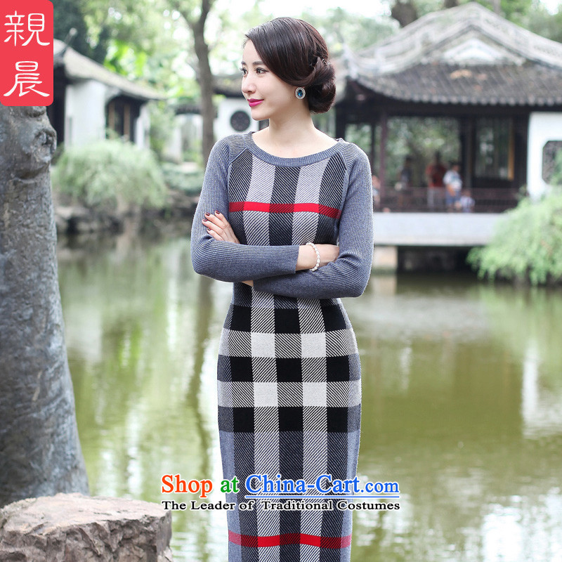 2015 Fall/Winter Collections cheongsam dress the new improved stylish girl long skirt daily retro long-sleeved woolen knitted gray 2XL