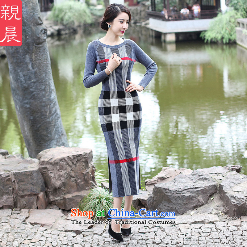 2015 Fall/Winter Collections cheongsam dress the new improved stylish girl long skirt daily retro long-sleeved gray woolen knitted聽2XL, pro-am , , , shopping on the Internet