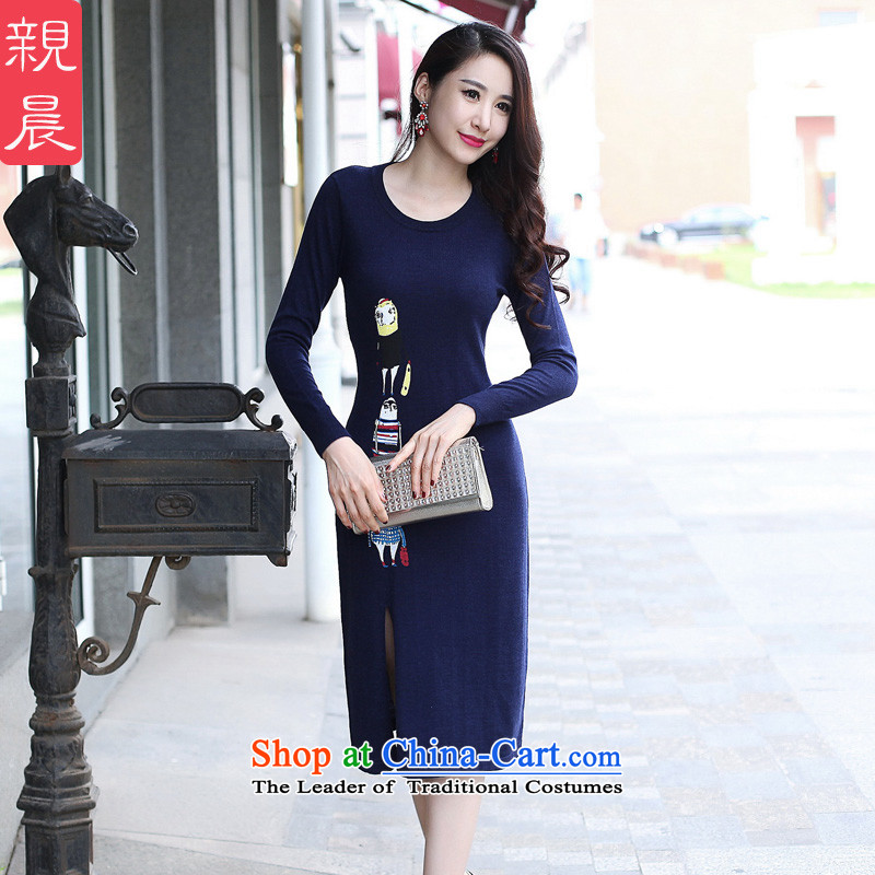 2015 Autumn and winter cheongsam dress Ms. New Stylish retro knit wool improved day-to-day long-sleeved short skirt, navy blue?XL