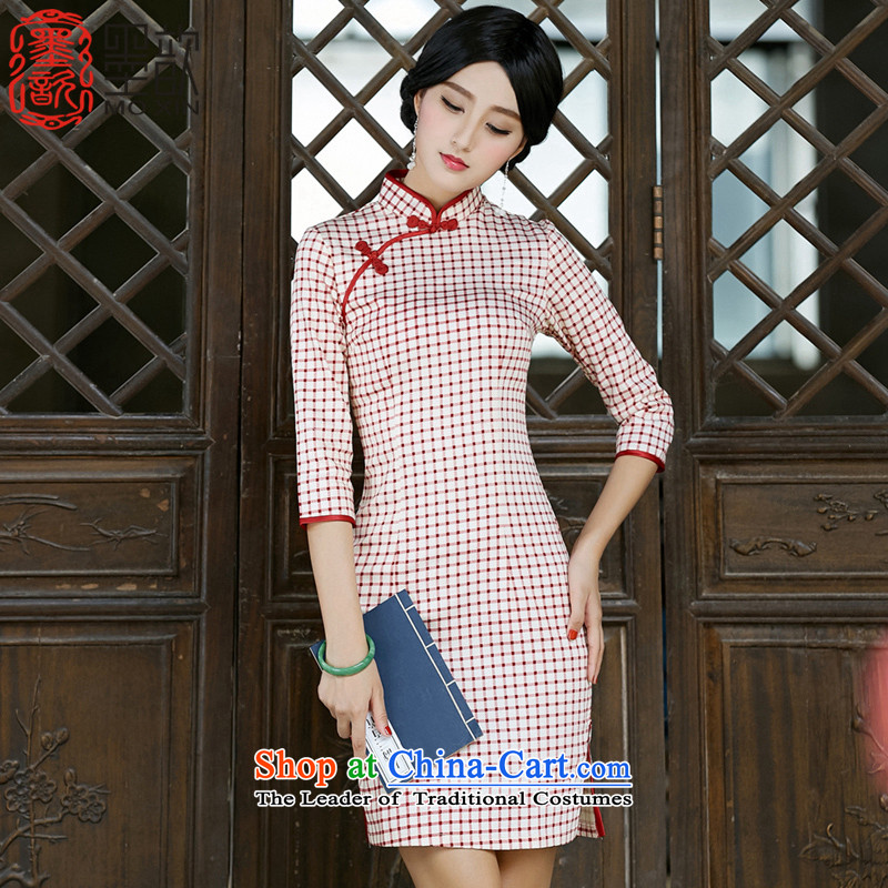 The�2015 autumn ? Choi Man with new) cuff qipao cheongsam dress retro style qipao improved skirt Ms. latticed�SZ3G015�red checkered�M