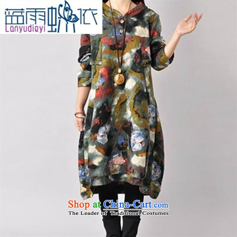 Ya-ting shop 2015 autumn and winter new Korean version of large numbers of ladies loose cap suit folder silk cotton dress red燣