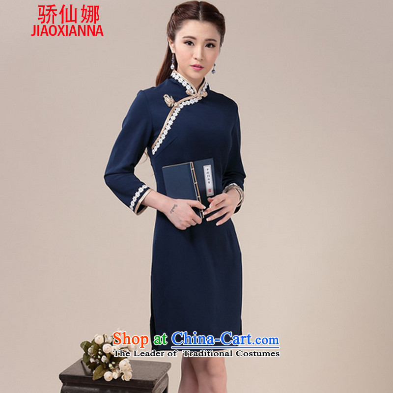 An average of 2015 autumn and winter sin new daily knitting sweet arts cheongsam dress ethnic antique dresses blue qipao燲XL