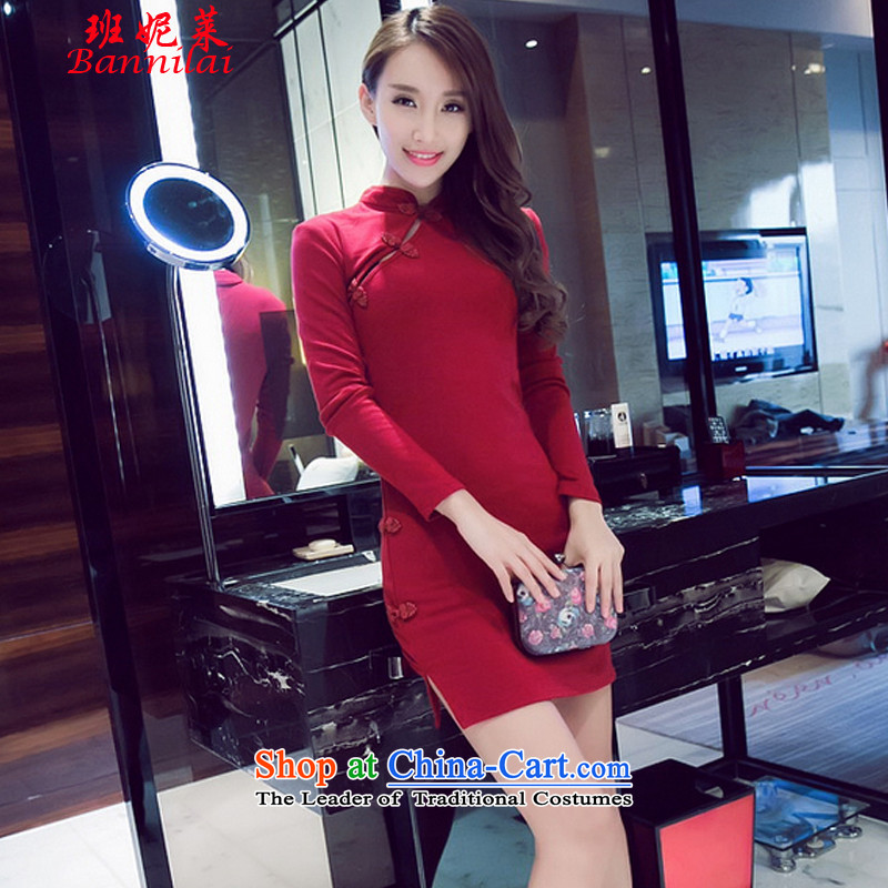 Correa Vanina Gloria 2015 retro sexy beauty package and a mock-neck cheongsam dress casual pure cotton short skirt wine red燬