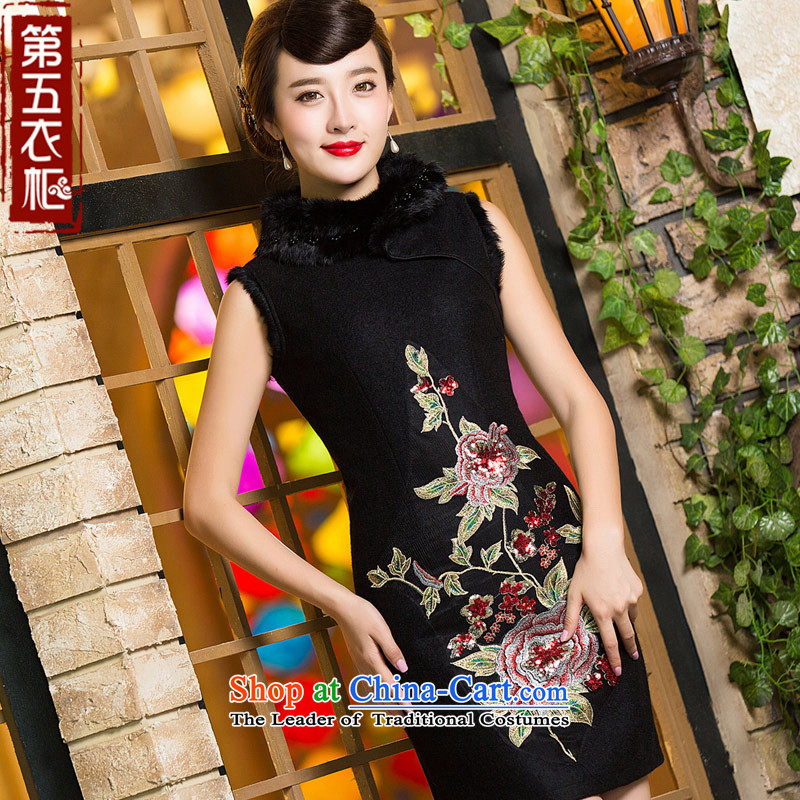 Eason Chan point a wool-thick 2015 new winter clothing stylish Chinese cheongsam dress for Sau San Mao Black?M