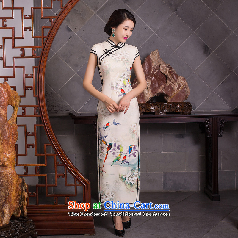 Floral? Women 2015 Chinese qipao gown ramp collar skirt retro facade long cheongsam dress suit Figure Color?S