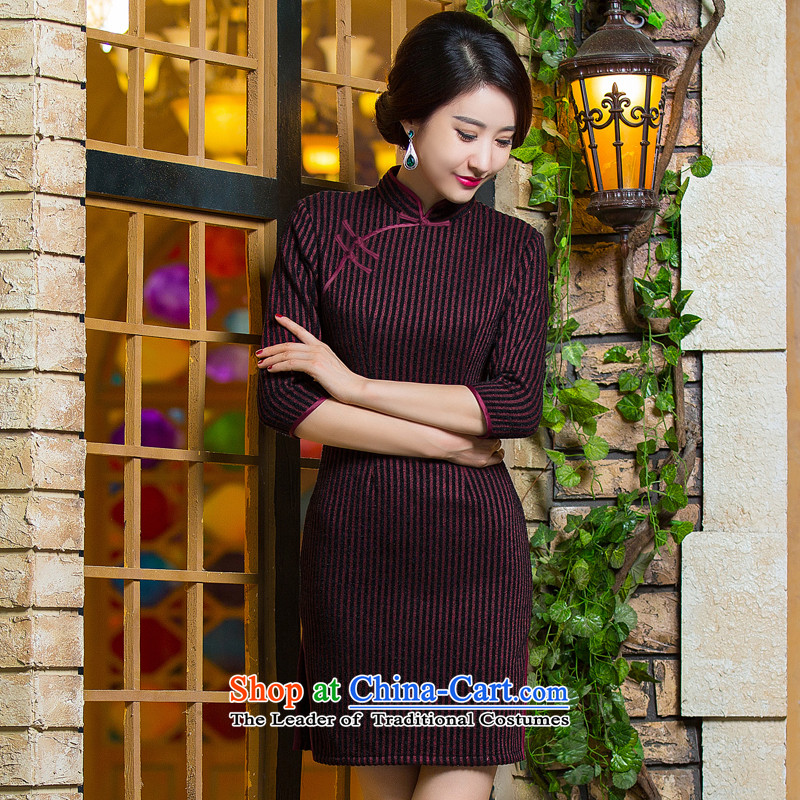 Dan smoke women 2015 Fall/Winter Collections Of Chinese Antique improved new streaks gross daily qipao? dresses Figure?2XL color