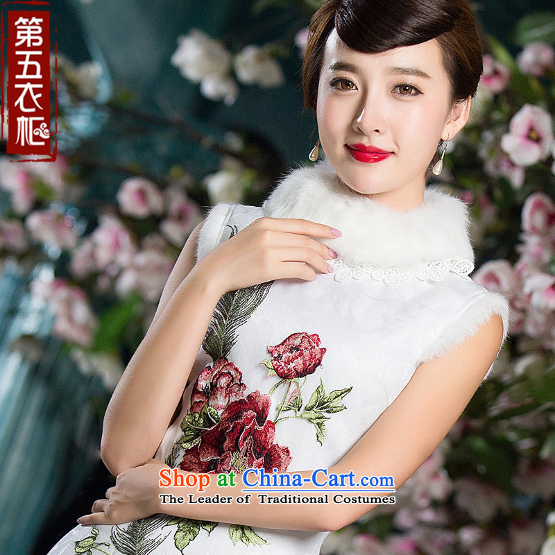 Eason Chan point folder cotton cheongsam dress 2015 new winter clothing stylish improved Chinese embroidery Sau San thick nagymaros collar White?XL