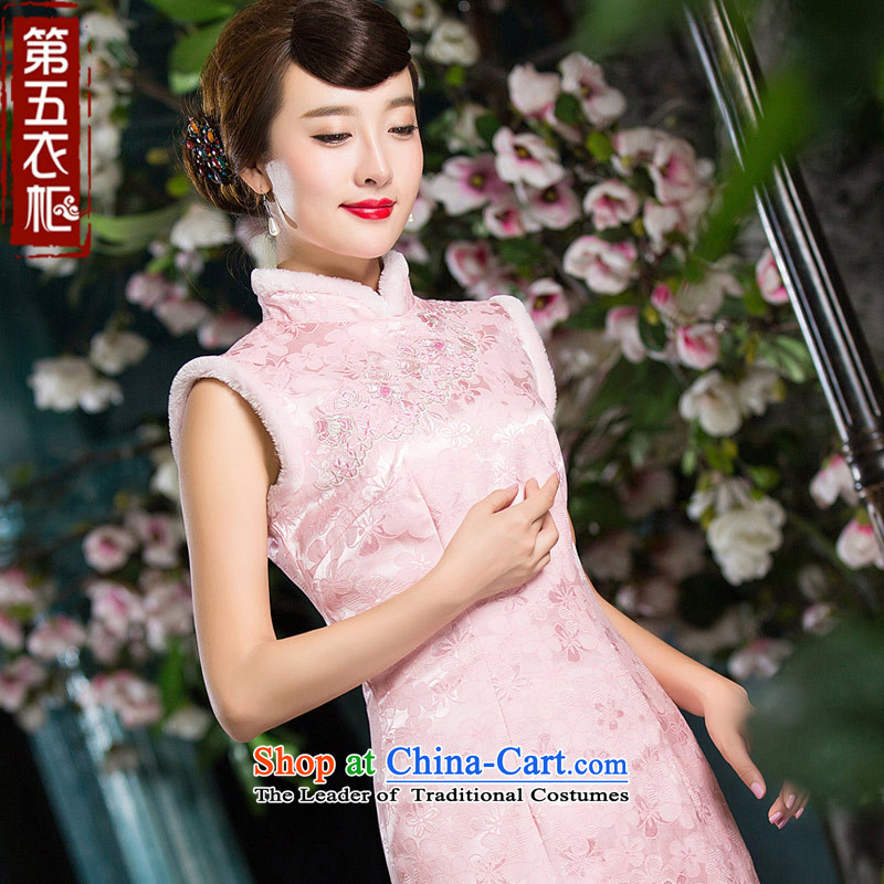 Eason Chan point add clip cotton cheongsam dress 2015 new winter stylish Chinese Sau San pink short of daily gross collar pink燬