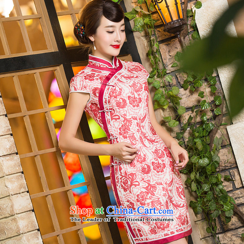Eason Chan point cheongsam dress 2015 new winter thick wool a Chinese Antique style improvement MOM pack skirt the usual zongzi RED燤