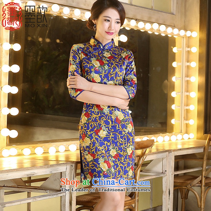 Ink ? Pik-chin�2015 skirt with retro style qipao autumn China wind improved new moms Sau San qipao replacing older�ZA3C02 qipao�picture color�S
