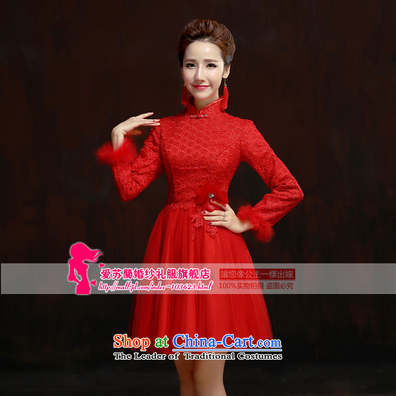 Wedding dress 2015 new bride bows to marry retro red dress of qipao long-sleeved qipao winter red yarn Cluster Setup燤