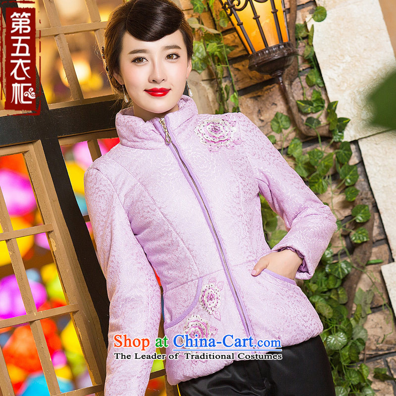 Eason Chan Tang dynasty point blouses winter coat 2015 new long-sleeved Sau San short stylish MOM pack robe cotton coat with a light purple?S