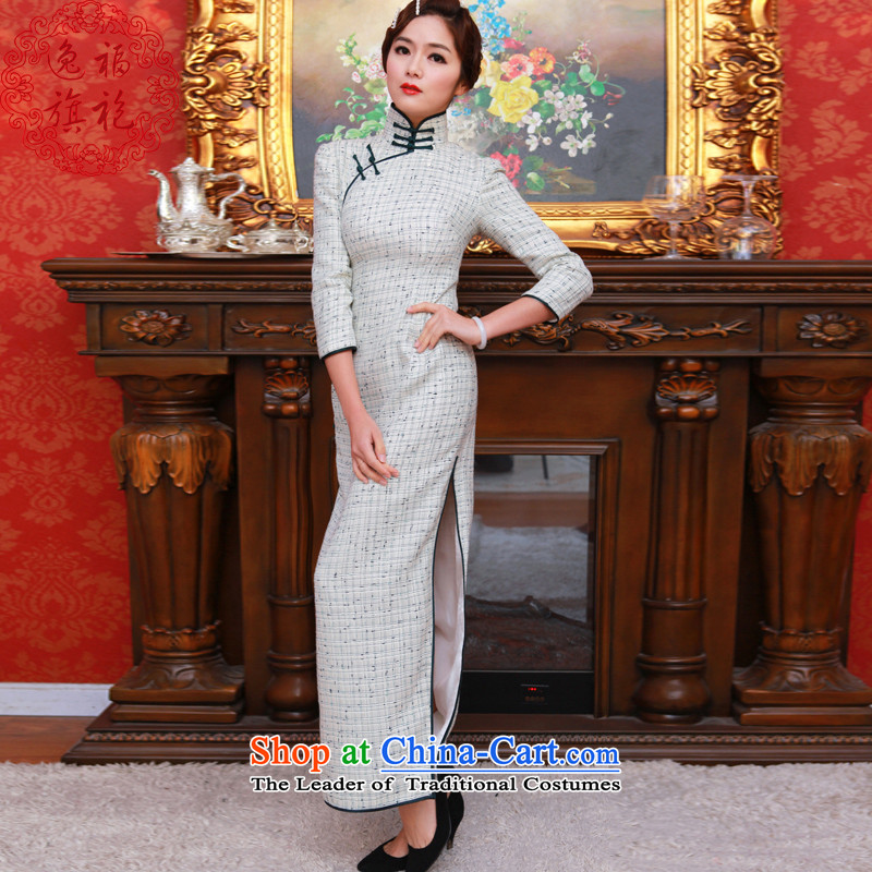 Custom High-end of the escape of the Republic of Korea long-sleeved daily plain color qipao cheongsam dress autumn long qipao retro white?S 15 day shipping