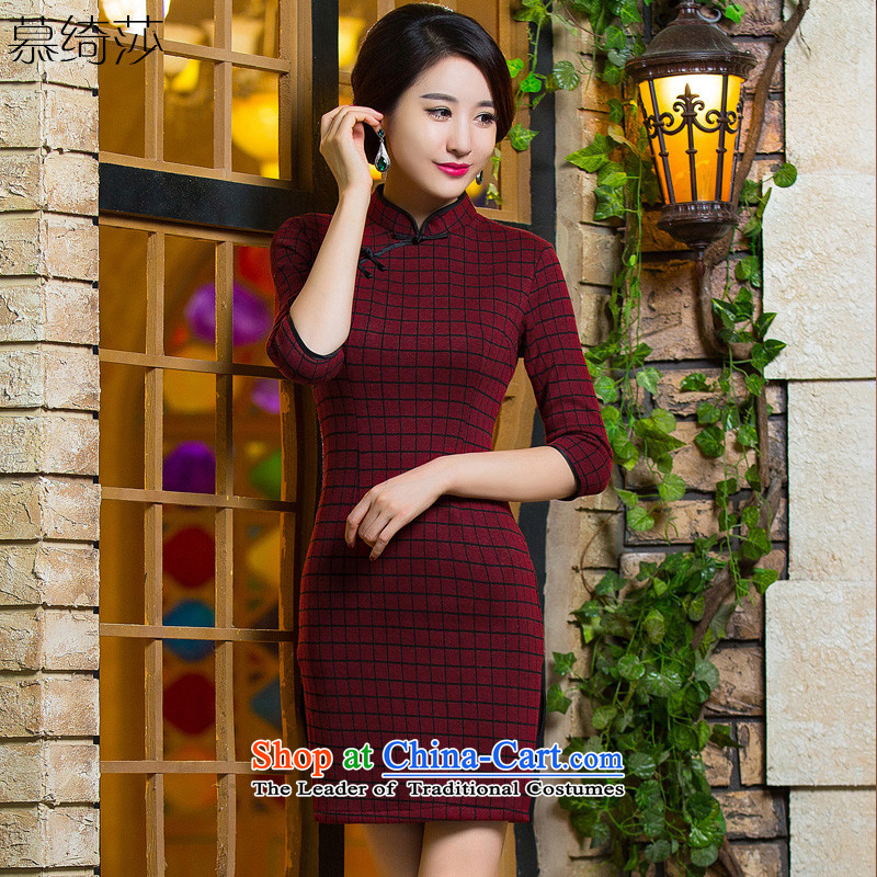 The eligibility criteria of the cross-sa?2015 improved qipao autumn and winter retro fitted in long skirt new 7 qipao sub-sleeved latticed gross knitting qipao?QD298??Deep Red?M
