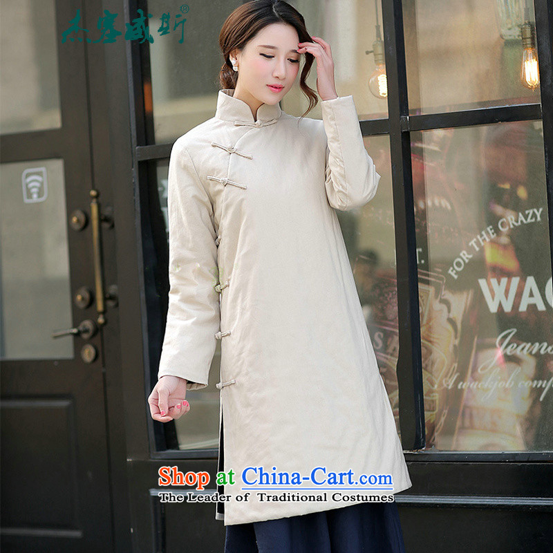 In the new kit, Tang dynasty retro collar solid-color power's cotton linen Han-long-sleeved gown is a hand-held long cotton field cotton coat beige jacket�S