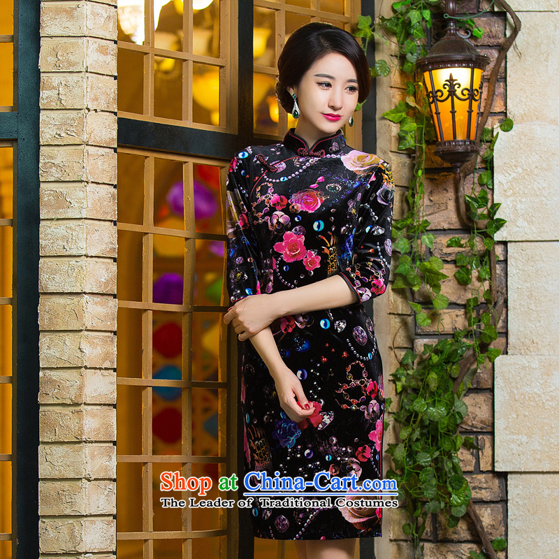 It?'s new 2015 Chinese cheongsam dress retro improved Mock-neck scouring pads Sau San 7 cuff dresses figure color?M