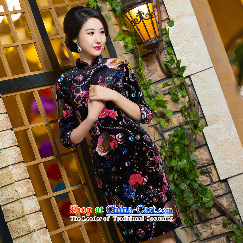 It聽's new 2015 Chinese cheongsam dress retro improved Mock-neck scouring pads Sau San 7 cuff dresses like a聽mosaic map color M , , , shopping on the Internet