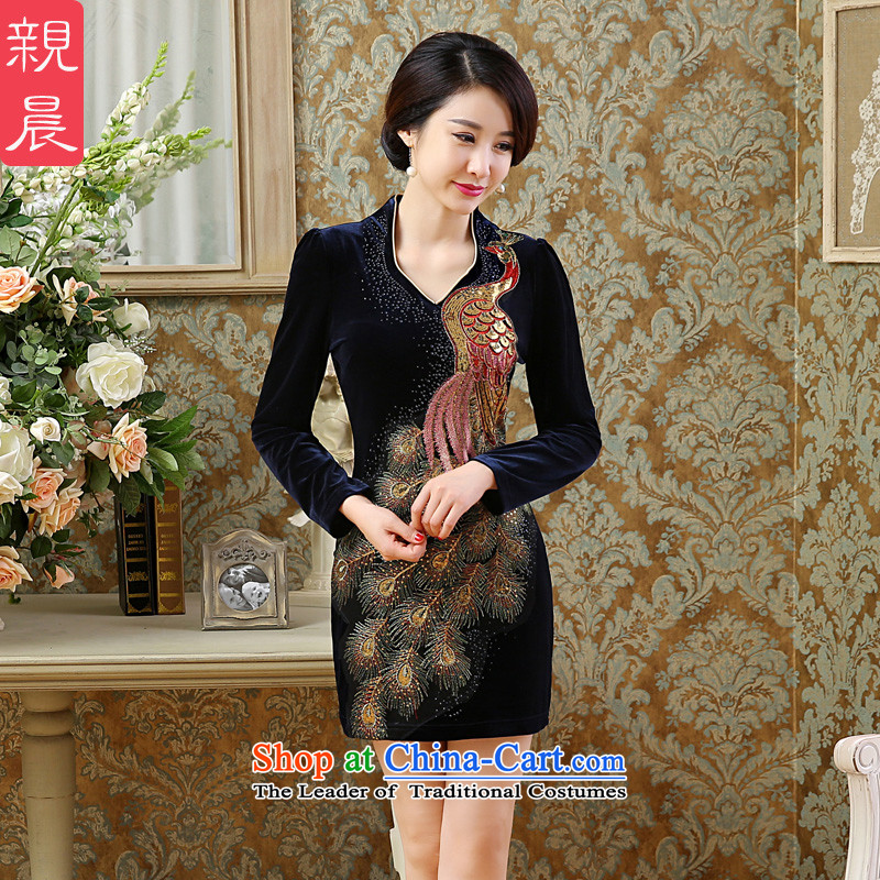 2015 Autumn and winter new gold velour cheongsam dress wedding large stylish retro fitted mother improved Ms. dresses Blue?M