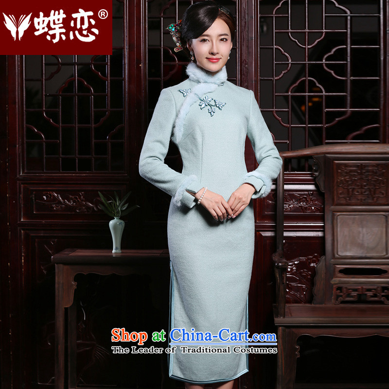 The Butterfly Lovers 2015 autumn and winter new improved Stylish retro long-sleeved long cheongsam dress fleece qipao Ma Charon? Blue - 10 days pre-sale?M