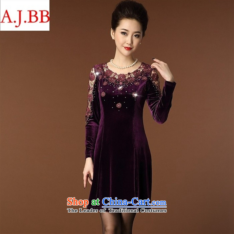 September _2015 clothes shops in the autumn of New Large older wedding Lace Embroidery on load mother Kim black velvet?XXL