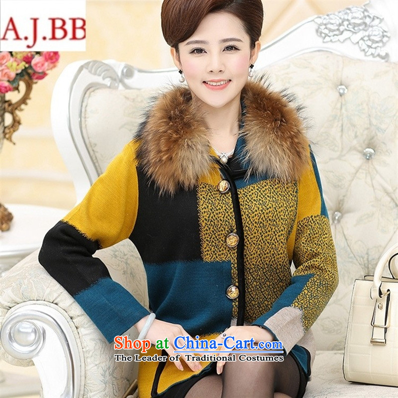 September *2015 autumn and winter clothes shops a wool coat mother woolen gross Neck Jacket in this older knitting coats Yellow M