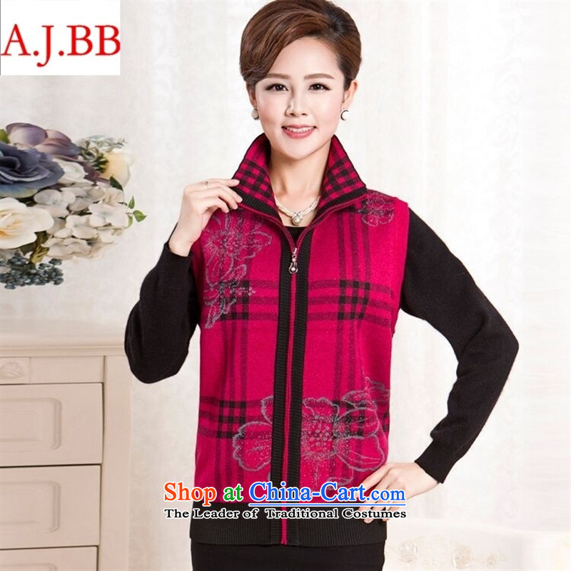 September clothes shops _ autumn and winter in the new mother with thick older Cashmere Sweater Vest wool Kampala shoulder grandma knitted jackets and color lapel聽XXL