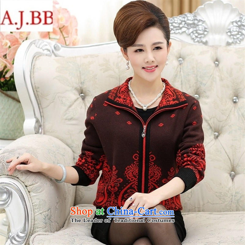 September clothes shops in older women's _ autumn and winter jackets middle-aged moms with large zippered lapel Sweater Knit wool cardigan female Black?XL